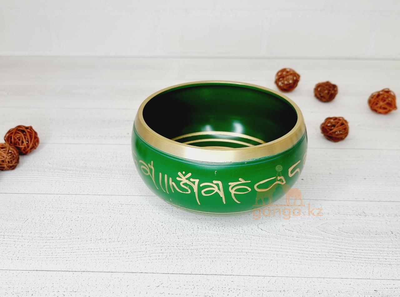 Поющая чаша Зелёная, диаметр 13 см
