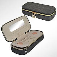 Шкатулка для ювелирных украшений с зеркалом и делениями на молнии из эко-кожи ширина 25 см  черная