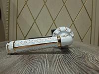 Ручка дверная Saneli Белый / Золото на круглой основе / Цвет - белый