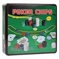 Набор для игры в покер профессиональный 500 Poker Chips с сукном в жестяной банке