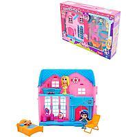 Игровой набор кукольный домик со светом и звуком, мебель, 2 куклы (8 см), для девочек. Barmila