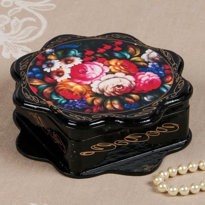 Шкатулка «Жостово», 16×16 см, лаковая миниатюра