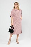 Женское летнее льняное большого размера платье Pretty 1990 пыльная_роза_полоска 52р.