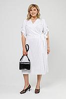 Женское летнее льняное большого размера платье Pretty 1997 белый_полоска 58р.