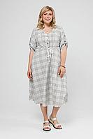 Женское летнее льняное большого размера платье Pretty 2000 хаки-белый 52р.