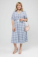 Женское летнее льняное большого размера платье Pretty 2000 синий-белый 52р.