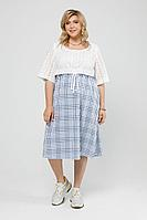 Женское летнее льняное большого размера платье Pretty 2002 сине-белый_клетка 52р.