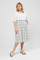 Женское летнее льняное большого размера платье Pretty 2002 хаки-белый_клетка 52р.