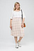 Женское летнее льняное большого размера платье Pretty 2002 рыжий-белый_клетка 52р.