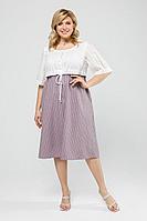 Женское летнее льняное большого размера платье Pretty 2002 белый-сирень_полоска 52р.