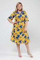 Женское летнее большого размера платье Pretty 2010 желтый_василек_цветы 52р.
