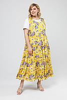Женский летний трикотажный большого размера комплект с платьем Pretty 2005 желтый_синень_цветы 52р.
