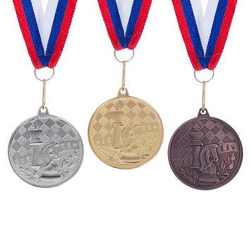 """Медаль тематическая 175 """"Шахматы"""" золото"""