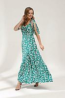 Женское летнее из вискозы зеленое платье Lyushe 2679 44р.