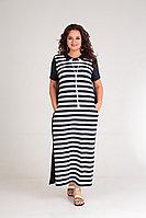 Женское летнее трикотажное синее большого размера платье Andrea Style 0382 синий 54р.