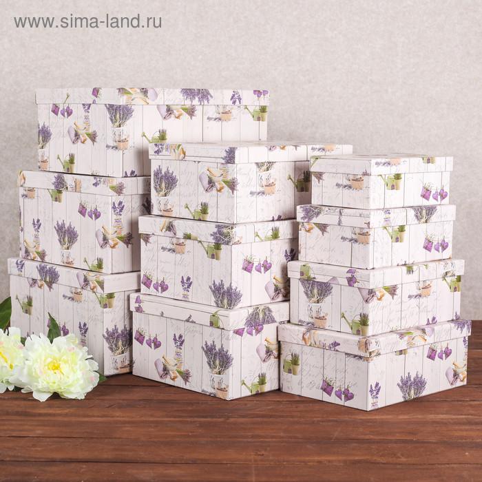 """Набор коробок 10 в 1 """"Лаванда"""", 37,5 х 29 х 16 - 19 х 13 х 7,5 см - фото 1"""
