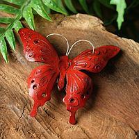 """Брошь из кожи """"Бабочка"""" большая, цвет красный"""