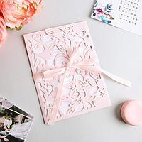 Свадебное приглашение резное «Кружева», цвет розовый, 11,6 х 12 см