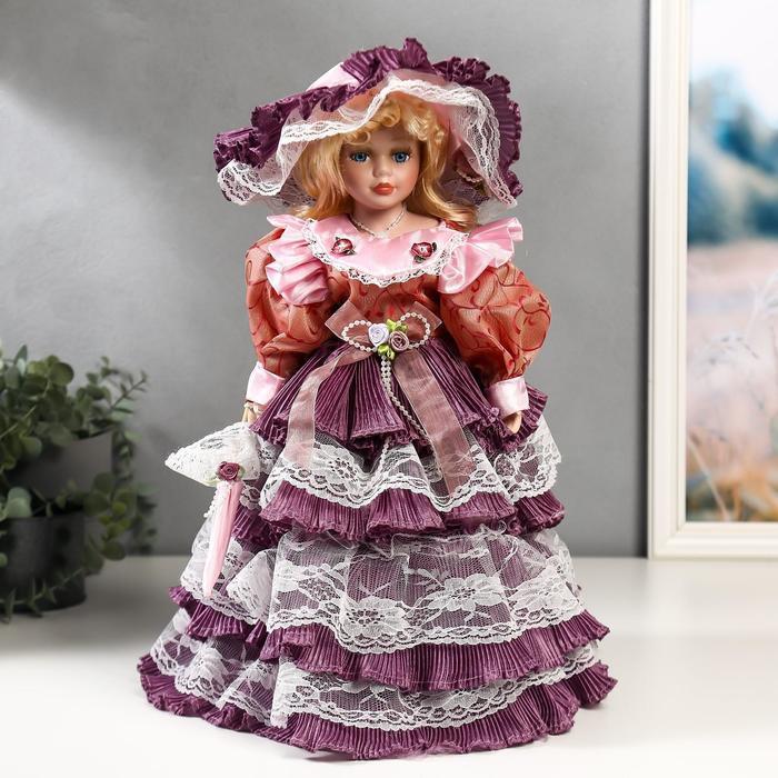 """Кукла коллекционная керамика """"Леди Оливия в платье цвета пыльная роза"""" 40 см - фото 1"""