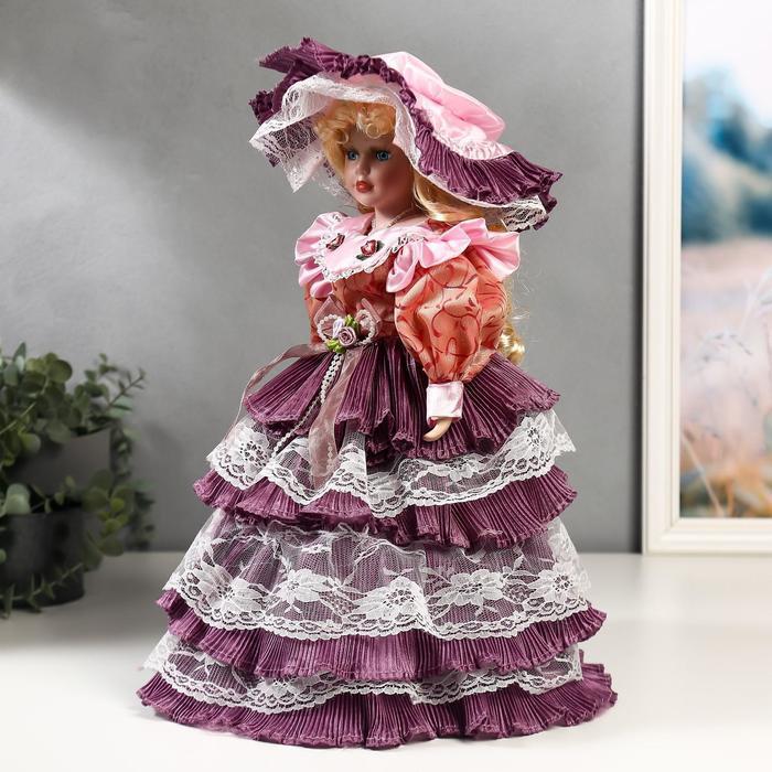 """Кукла коллекционная керамика """"Леди Оливия в платье цвета пыльная роза"""" 40 см - фото 2"""