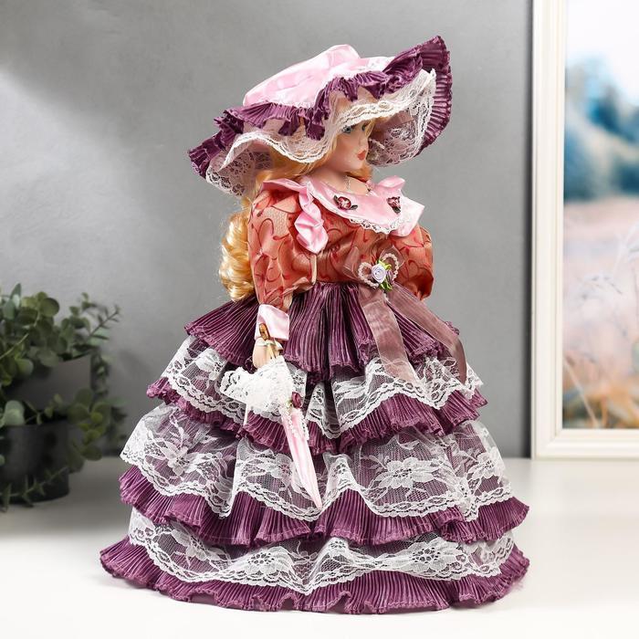 """Кукла коллекционная керамика """"Леди Оливия в платье цвета пыльная роза"""" 40 см - фото 3"""