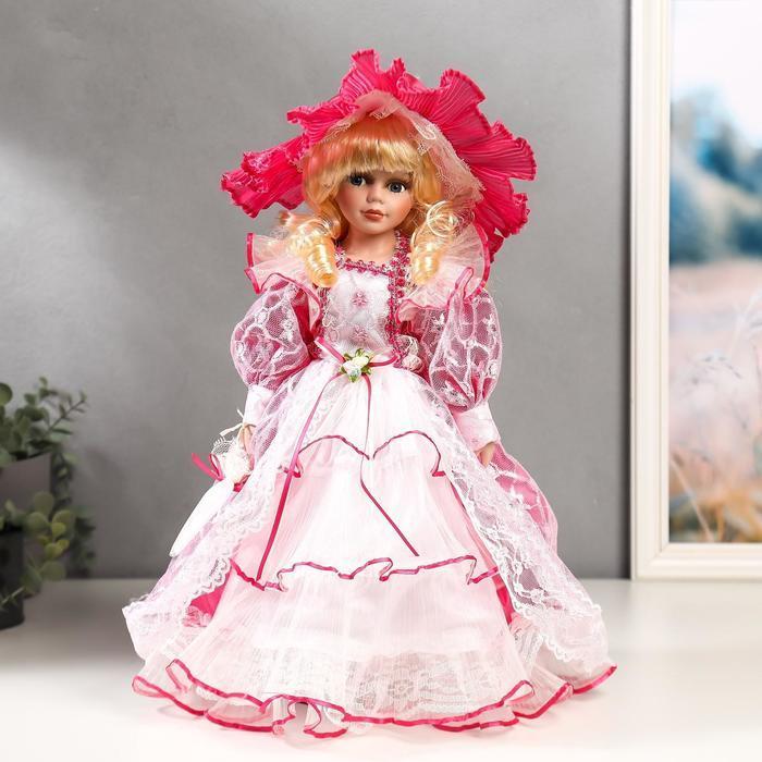 """Кукла коллекционная керамика """"Леди Виктория в розовом платье"""" 40 см - фото 1"""