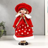 """Кукла коллекционная керамика """"Рита в красном платье в горох"""" 30 см"""
