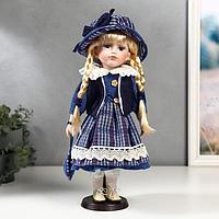 """Кукла коллекционная керамика """"Маруся в синем платье в клетку"""" 40 см"""