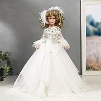 """Кукла коллекционная керамика """"Констанция в белом платье с перьями"""", свет, 45 см"""