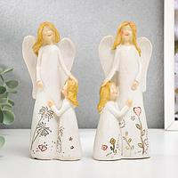 """Сувенир полистоун """"Девушка ангел с малышкой, с цветами на платье"""" МИКС 15х7х4,5 см"""