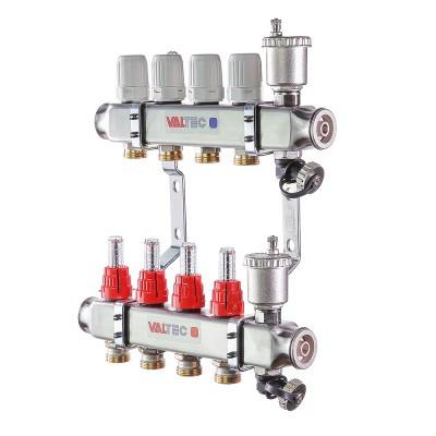"""Коллекторный блок из нержавеющей стали с термостатическими клапанами и расходомерами 1"""" 8 вых. x 3/4"""" VALTEC"""