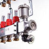 """Коллекторный блок из нержавеющей стали с термостатическими клапанами и расходомерами 1"""" 9 вых. x 3/4"""" VALTEC, фото 3"""