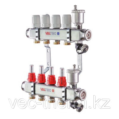 """Коллекторный блок из нержавеющей стали с термостатическими клапанами и расходомерами 1"""" 10 вых. x 3/4"""" VALTEC"""
