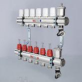"""Коллекторный блок латунный с термостатическими клапанами и расходомерами 1"""" 3 вых.  х 3/4"""" VALTEC, фото 3"""