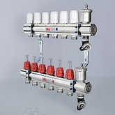 """Коллекторный блок латунный с термостатическими клапанами и расходомерами 1"""" 4 вых.  х 3/4"""" VALTEC, фото 3"""