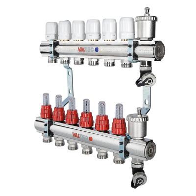 """Коллекторный блок латунный с термостатическими клапанами и расходомерами 1"""" 6 вых.  х 3/4"""" VALTEC"""