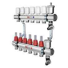 """Коллекторный блок латунный с термостатическими клапанами и расходомерами 1"""" 8 вых.  х 3/4"""" VALTEC"""