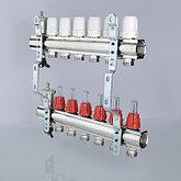"""Коллекторный блок латунный с термостатическими клапанами и расходомерами 1"""" 9 вых.  х 3/4"""" VALTEC, фото 2"""