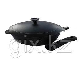 Сковорода литая чугунная 280*60 со съемной бакелитовой ручкой с алюминиевой крышкой