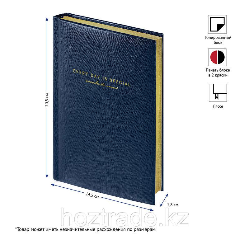 "Ежедневник недатир. A5, 136л., кожзам, OfficeSpace ""Dallas"", синий, золотой срез"