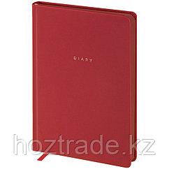 """Ежедневник недатированный A5, 136л., кожзам, OfficeSpace """"Grace"""", красный, цветной срез"""