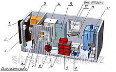 Модульный цех контейнерного типа холодного и горячего копчения рыбы с разовой загрузкой до 100 кг.
