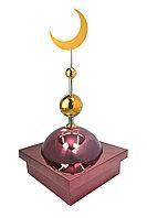 "Купол ""БАЙ"" на мазар. Цвет бордо с золотым плоским полумесяцем d-230 с 2-мя шарами. 39,5 х 39,5 см."