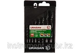 Набор спиральных сверл по дереву, URAGAN 8 шт., 3-4-5-6-7-8-9-10 мм