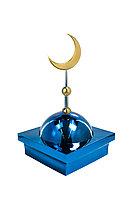 """Купол """"БАЙ"""" на мазар. Цвет синий с золотым объемным полумесяцем d-230. На колонну 39,5 х 39,5 см."""