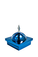 """Купол """"БАЙ"""" на мазар. Цвет синий с декоративным пером серебро. На колонну 39,5 х 39,5 см."""