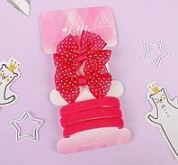 """Выбражулька: Набор для волос """"Карапунька"""" (2 зажима, 3 резинки) бантик в горошек розовый"""