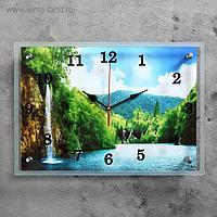 """Часы настенные, серия: Природа, """"Горный водопад"""" 25х35 см, микс"""