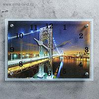 """Часы настенные, серия: Город, """"Ночной мост"""", 25х35 см, микс"""