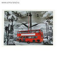 """Часы настенные, серия: Город, """"Красный автобус"""", 25х35 см, микс"""